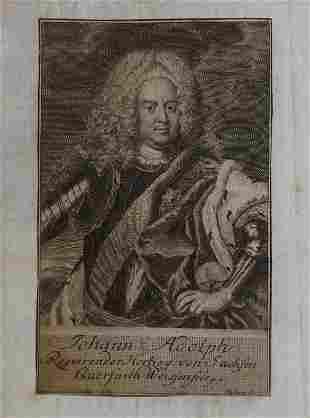 Johann Adolph Duke of Saxony 1733 engraving Sysang