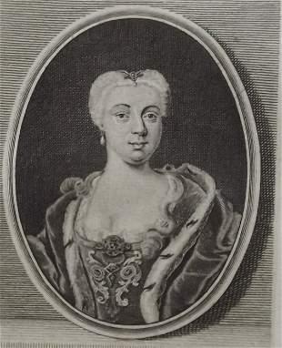 Luise Dorothea Princess of Saxon Gotha 1750s engraving