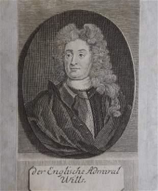 British General Charles Wills, 1710-1730s engraving