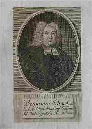 Benjamin Schmolck, Schmolke, composer engraving 1736