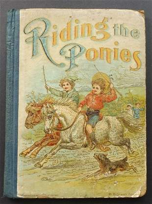 Riding the Ponies, 1901 Victorian Children Book illustr