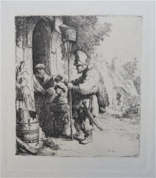 Rembrandt, 1632 Rat Catcher, Facsimile Etching 1970s
