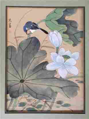 Shibata Zeshin, Lotus Flower, Bird, Silk Painting 1880s