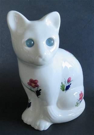 Mid Century Large Porcelain Cat figurine Portugal