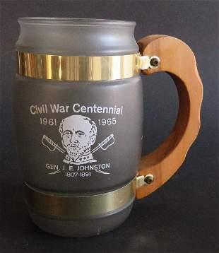 Civil War Centennial Tankard Mug 1961-65 Frosted Glass