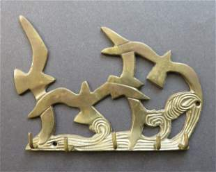 Seagulls over the Stormy Sea brass wall plaque hanger