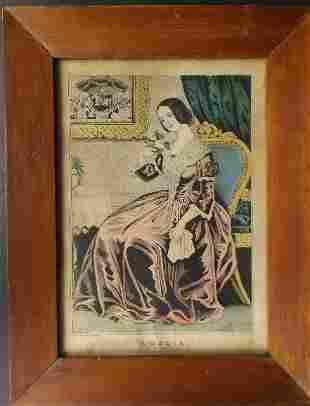 Currier, Amelia, 1845, Early American Folk Art framed