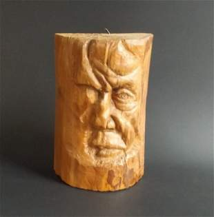 Vintage hand carved Sculpture Woodblock 1980s