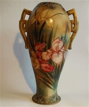 Antique Japanese Art Nouveau vase, Irises, 1920s