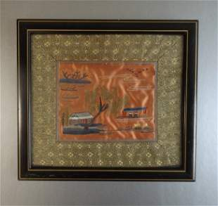 Vintage Scenic Japanese silk embroidery framed
