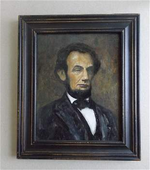 Portrait of President Lincoln, Oil Painting 1980s