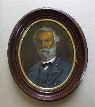 Portrait of General Robert Lee, Oil Painting 1850 frame