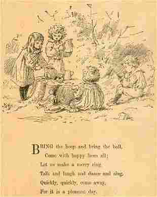 The Pleasant Day, poem 1891 Victorian Woodcut
