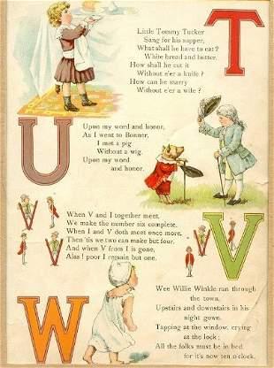Victorian Color Lithograph 1891 Alphabet Letter Poetry