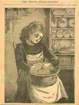 The Young House Keeper 1891 Victorian Woodcut