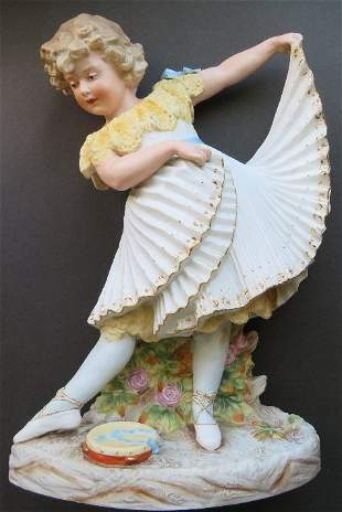 Heubach German Porcelain Ballet Dancer Girl Figure 1880