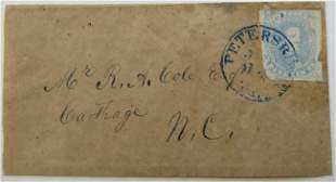 1862 Confederate Cover, Petersburg, CSA #4-2-Pa 5c