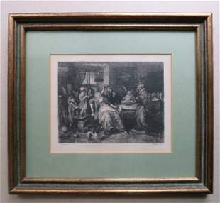 Jan Steen, Bean Feast, etching William Unger 1870s