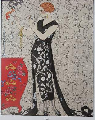Gustave Beer, 1921 Evening Dress, George Barbier Art