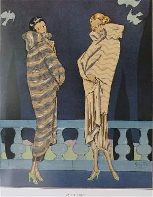 Max-A Leroy, Fur Coats, Lac De Come 1924 George Barbier