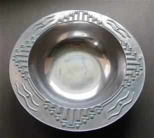 Art Deco Metal Bowl by RPW, Wilton, PA, Armetale 1960