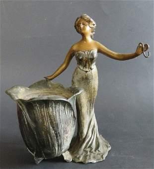 Art Nouveau Pewter Figurine Planter, 1910s-1920s