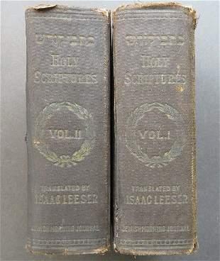 Jewish Bible Isaac Leeser Tr. Holy Scriptures 1909