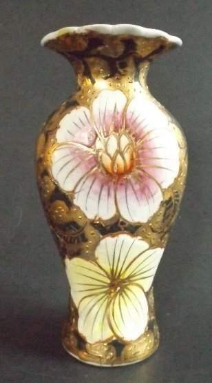 Antique Japanese Moriage Vase Painted Flowers