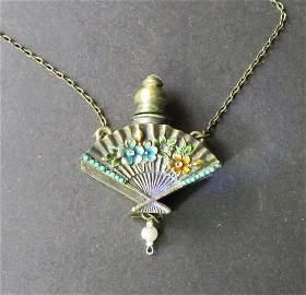 Antique Jeweled Perfume Bottle Necklace Art Nouveau