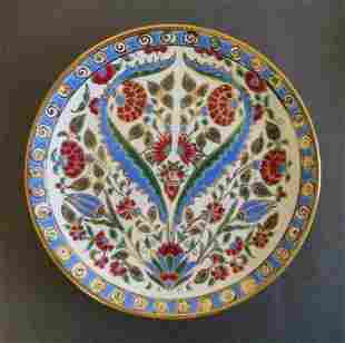 Pottery Hand Made Ceramic Plate Rhodes Greece, 1990s