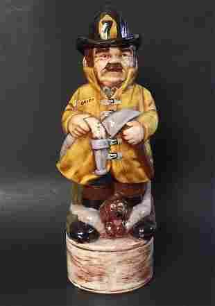The Fireman, Alberta Decanter, Ceramic Figurine, 1984