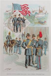 Ogden, US Army and Navy Uniforms Present Day Litho 1890
