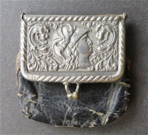 Antique Victorian coin purse, 1880s, Helmeted Roma