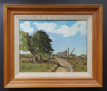 R. Wood, Old Cattle Gate, Oil on Canvas board 1970s