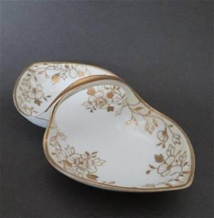 Noritake Nippon Porcelain Dish, Gold Flowers 1910s