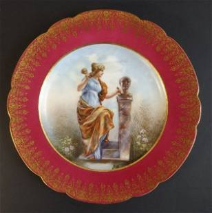 Limoges Porcelain Plate Muse of Sculptors Builders 1890