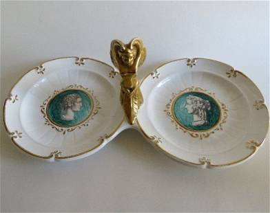 Ugo Zaccagnini, Italy porcelain double plate 1920s