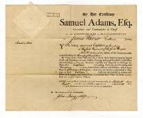 Samuel Adams Spectacular Signed Document, Era of The