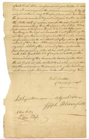 Joseph Bloomfield Gorgeous Signed Document