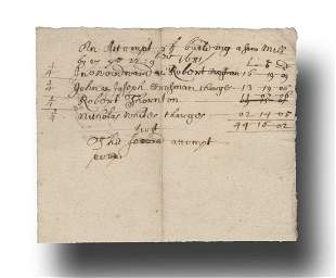 Colonial Massachusetts Document Estimating the Costs in