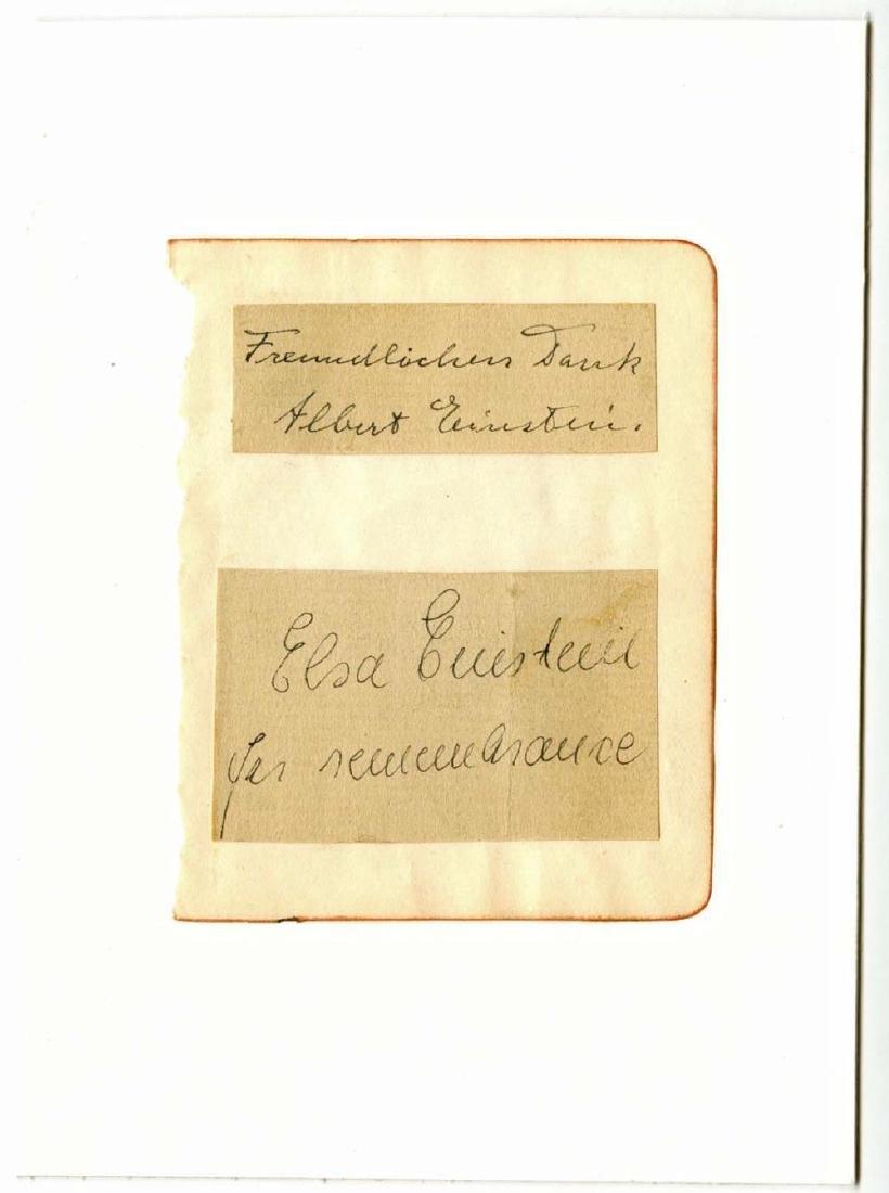 Albert and Elsa Einstein Signatures on Album Page, Rare