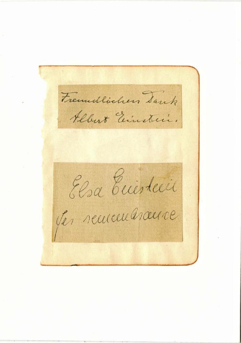 Albert and Elsa Einstein Signatures on Album Page, Rare - 4