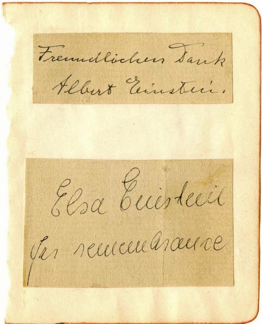 Albert and Elsa Einstein Signatures on Album Page, Rare - 5