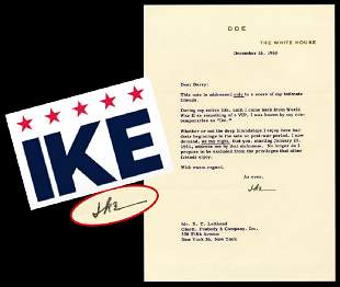Eisenhower Incredible White House Letter on History of