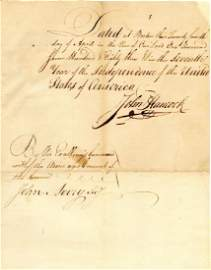 John Hancock Superb Signed Manuscript, 1783, Fantastic