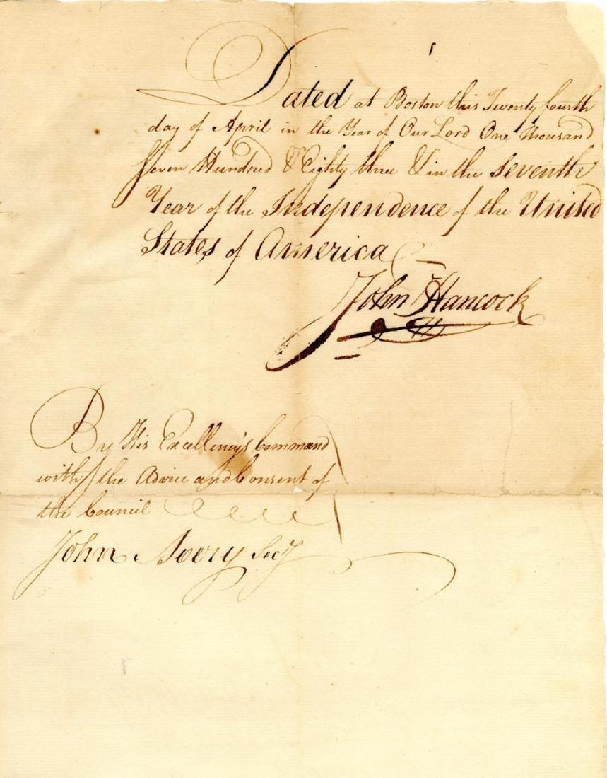 John Hancock Superb Signed Manuscript, 1783, Fantastic