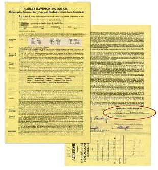 HarleyDavidson 1950 Massachusetts Dealership Contract