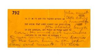 William R Hearst Signed Note Lamenting His Son Is Not