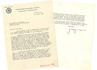 JEdgar Hoover TLS to One of His Staff Regarding