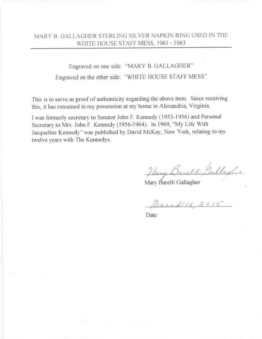 John Kennedy White House Staff Sterling Napkin Ring - 5